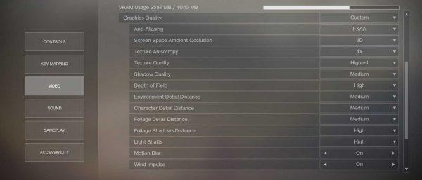 Destiny 2 - ustawienia