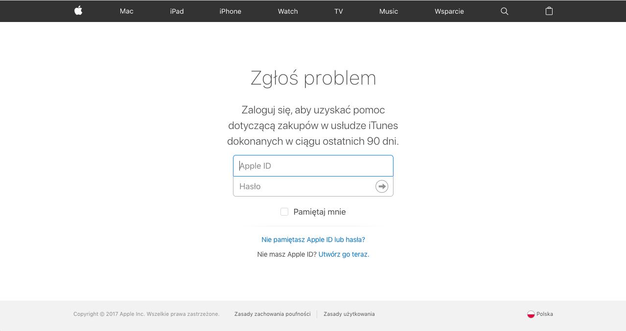 zgłoszenie problemu - appstore