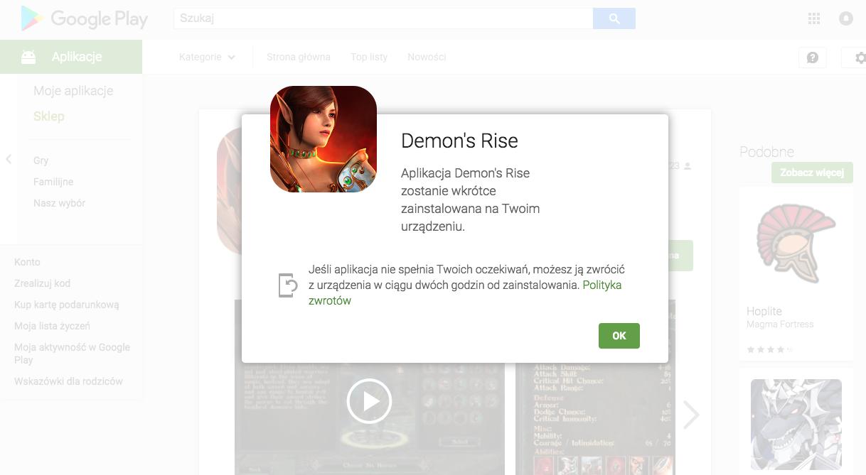 demon's rise - aplikacja google play