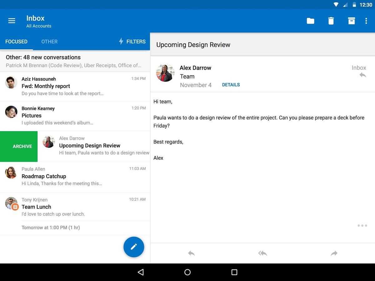 Microsoft Phone, Microsoft Outlook na urządzeniu przenośnym
