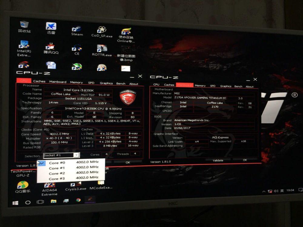 Intel Core i3-8350K MSI Z170A