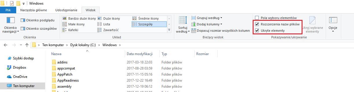 Windows 10 opcje folderów - eksplorator plików