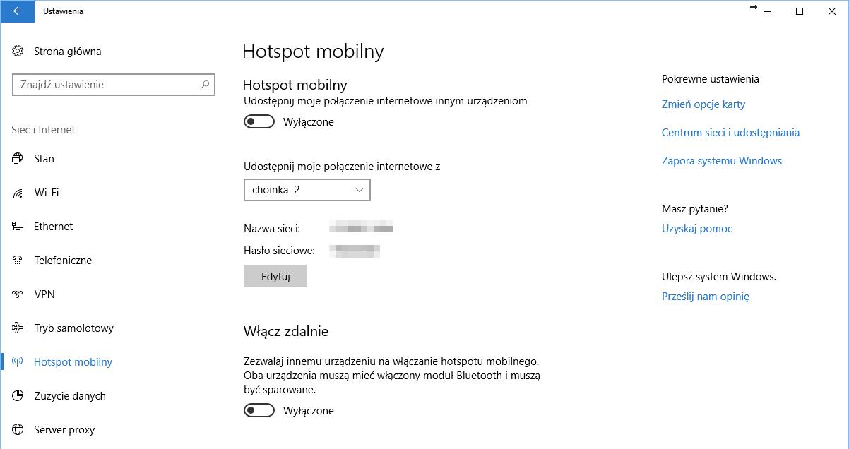 Windows 10 jak wyłączyć hotspot mobilny