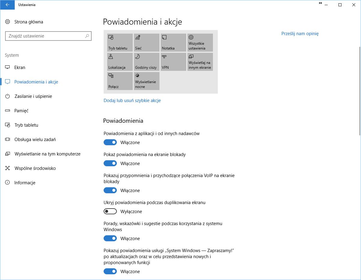 Windows 10 ustawienia Centrum Akcji