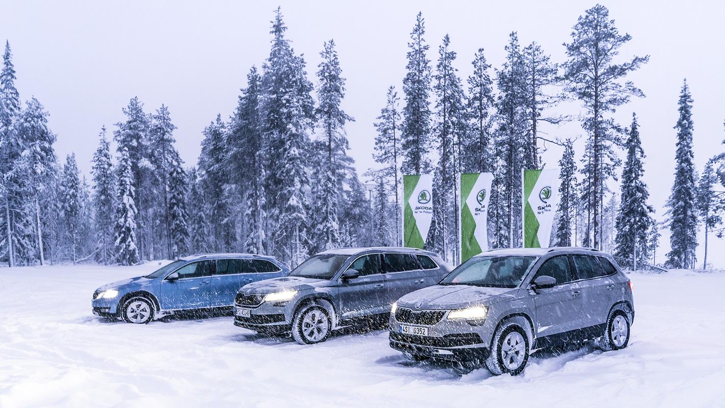 Skoda Karoq, Kodiaq oraz Octavia Scout na śniegu