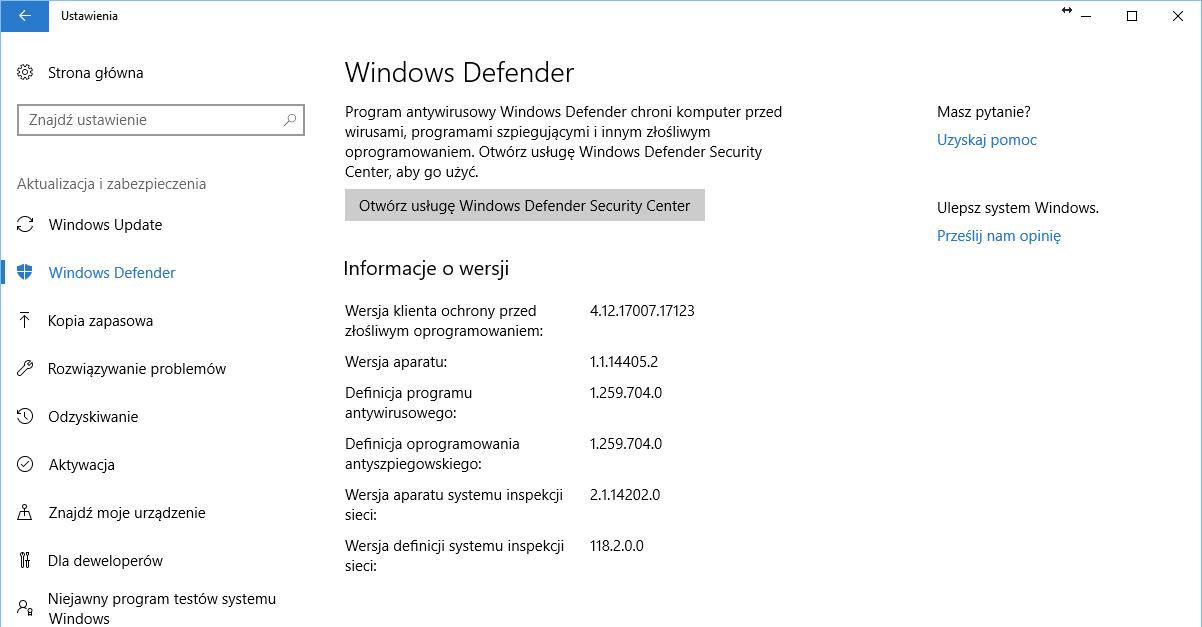 Windows 10 Microsoft Windows Defender