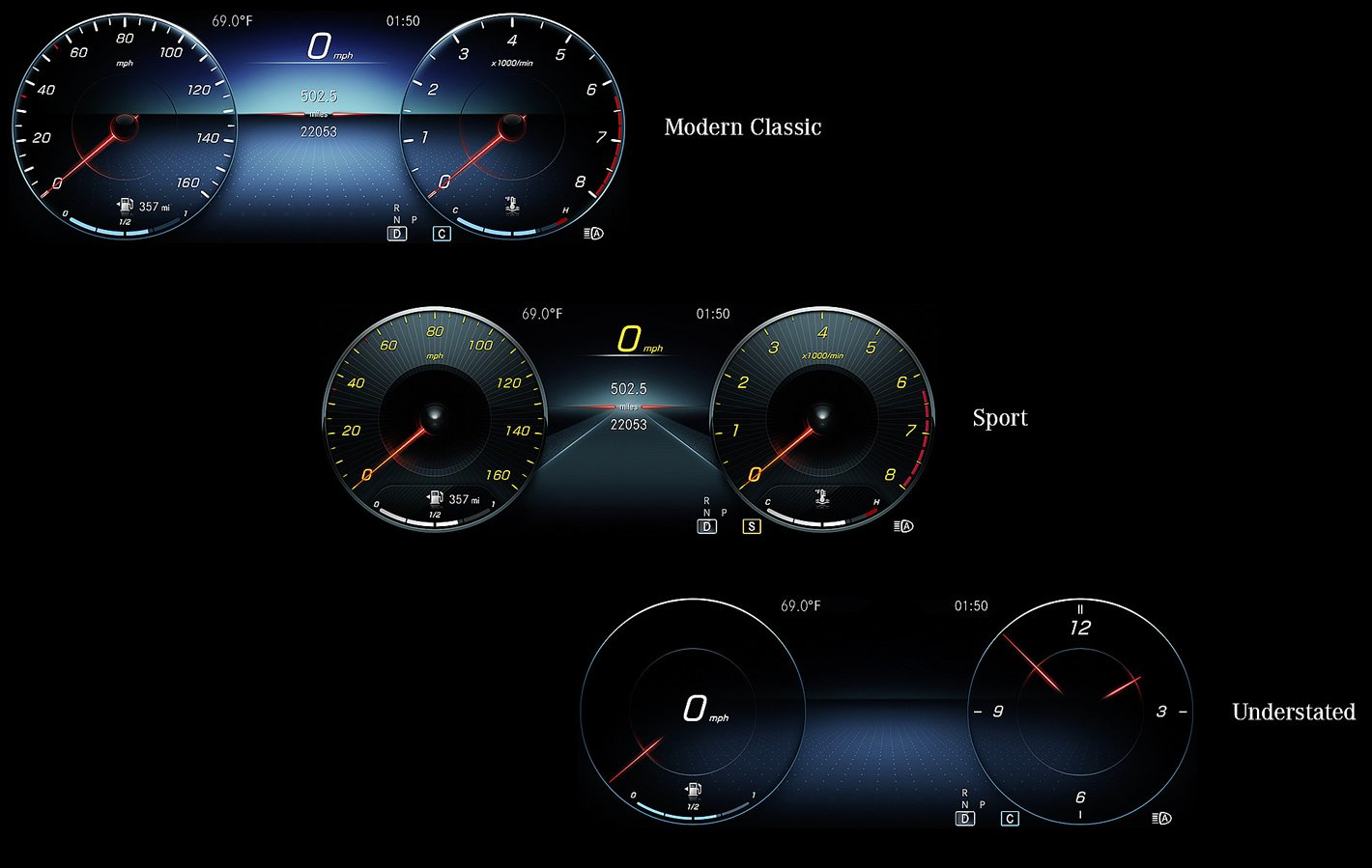 Mercedes-Benz Klasy A - dostępne style ekranu przed kierowcą