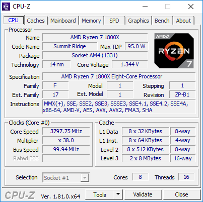 AMD Ryzen 7 1800X CPU-Z po OC