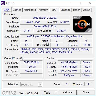 AMD Ryzen 3 2200G - CPU-Z podkręcony OC