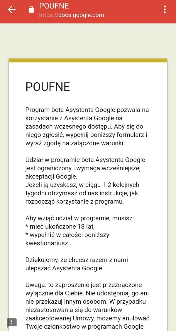 ankieta Asystent Googla