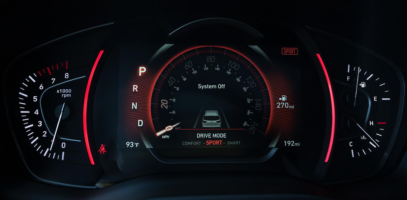 Hyundai Santa Fe 2019 ekran kierowcy w trybie sportowym