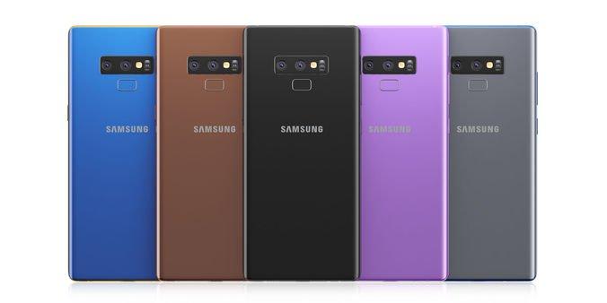 samsung galaxy note 9 - tył telefonu w różnych wersjach kolorystycznych