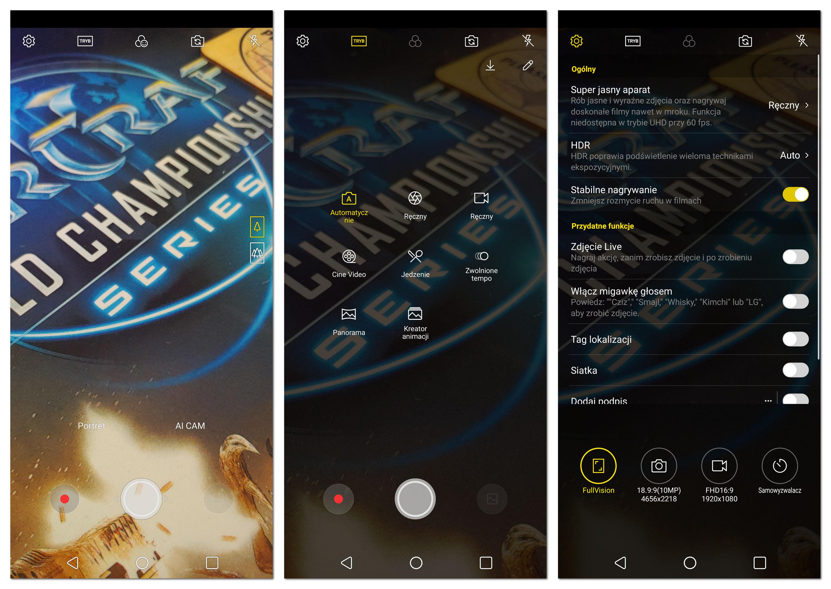 LG G7 interfejs aparatu