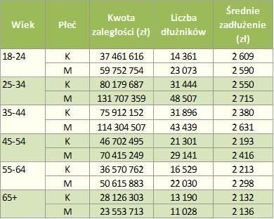 Zadłużenie Polaków - firmy telekomunikacyjne/wiek
