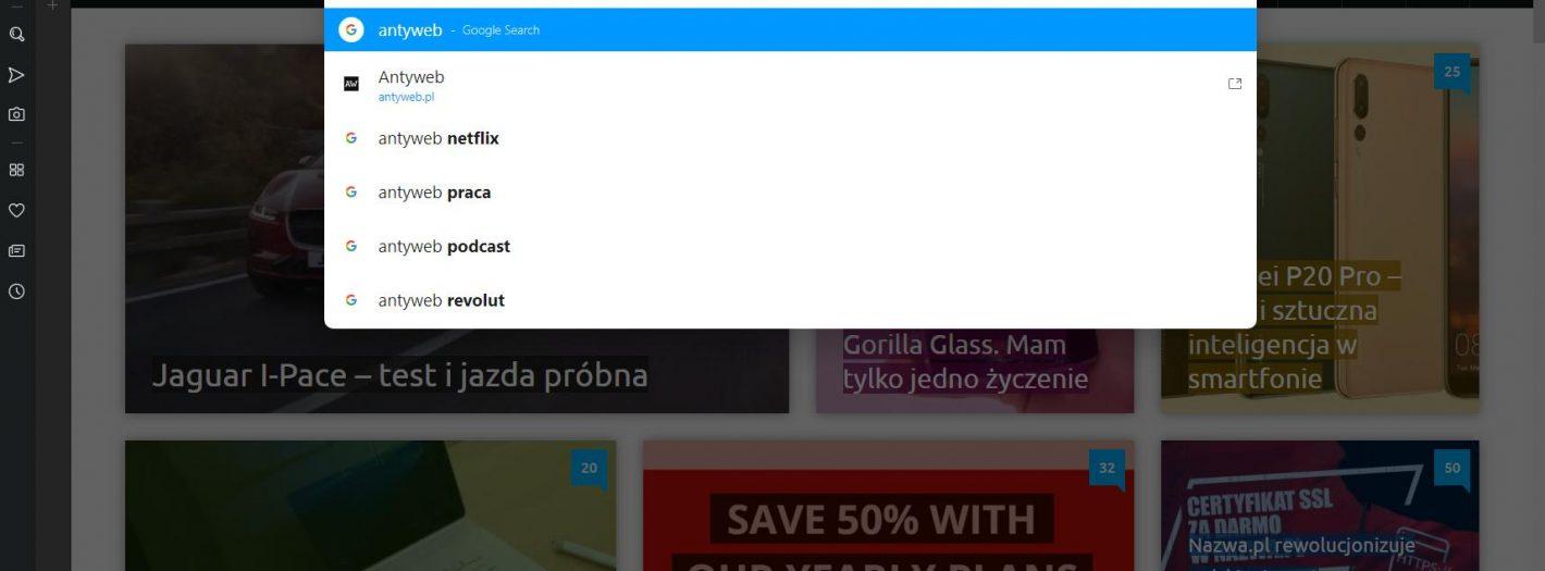 opera wyszukiwarka