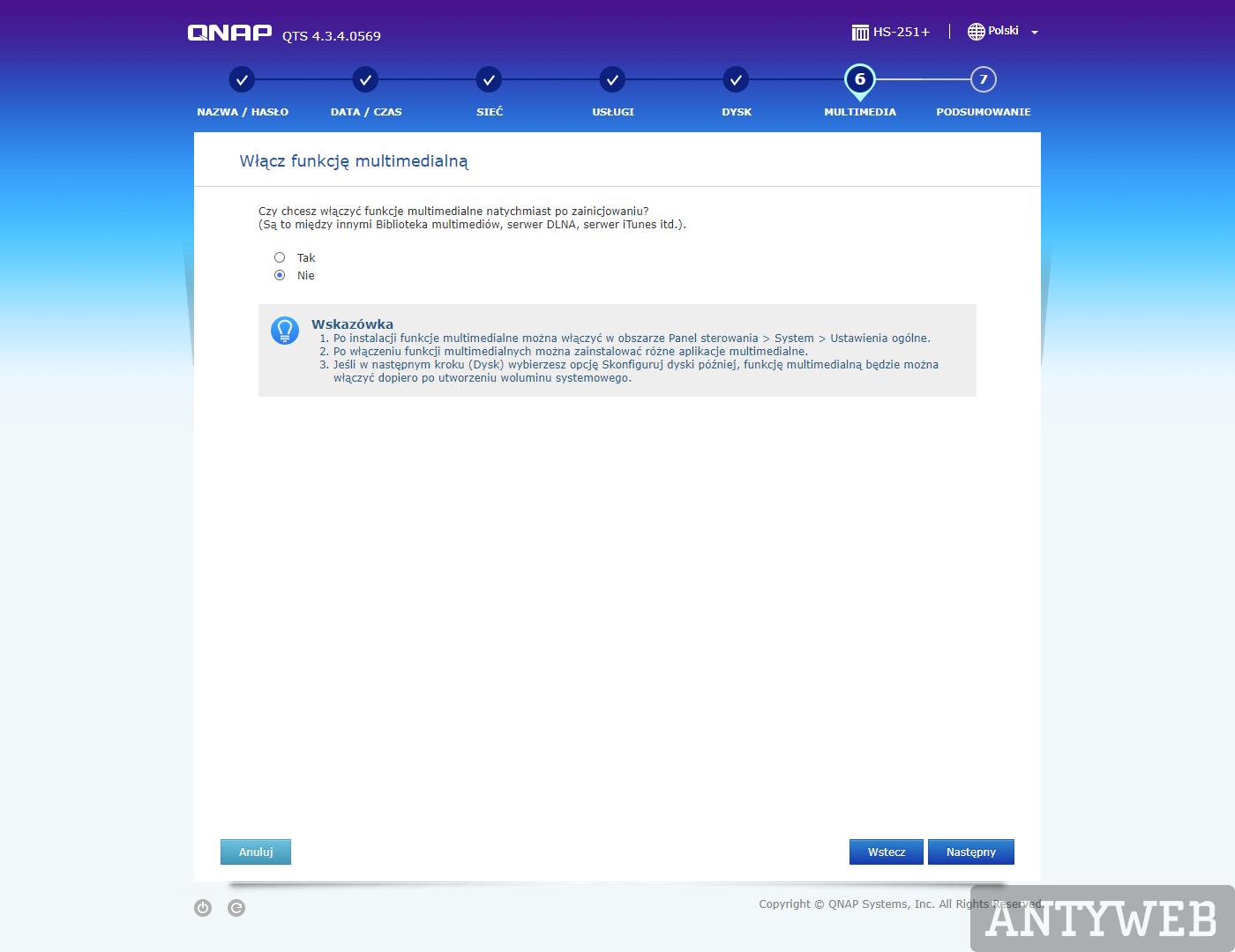 QNAP QTS konfiguracja wstępna