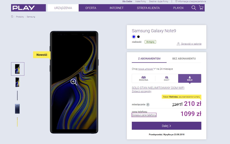 Samsung Galaxy Note 9 w Play