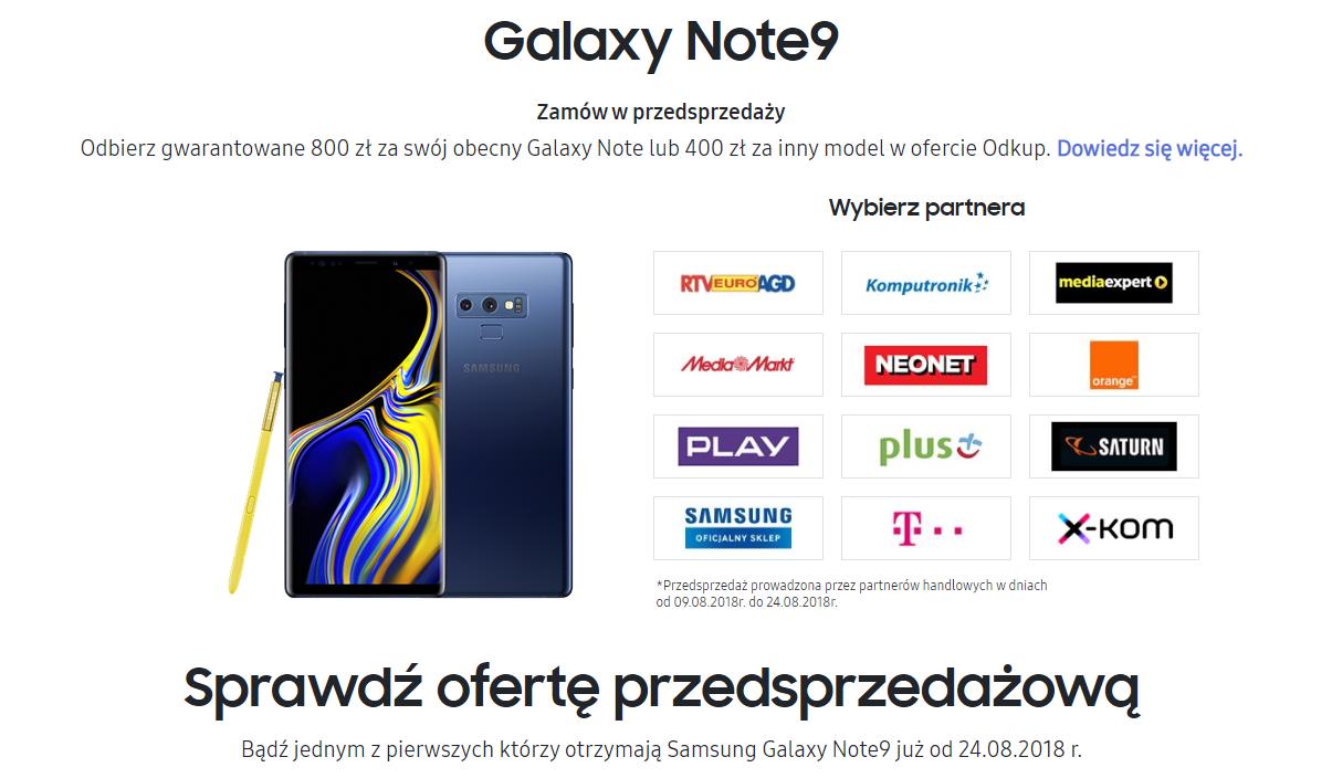 Samsung Galaxy Note 9 - przedsprzedaż