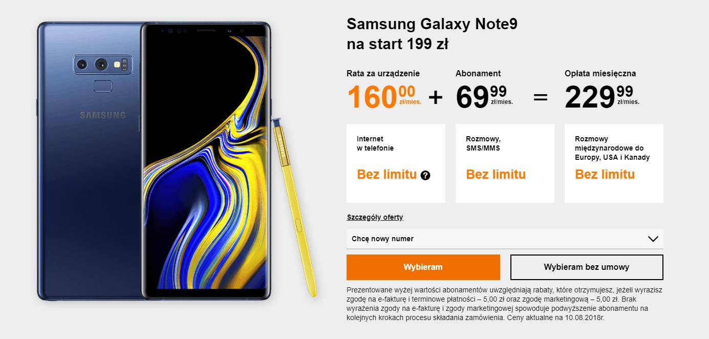 Samsung Galaxy Note 9 w Orange