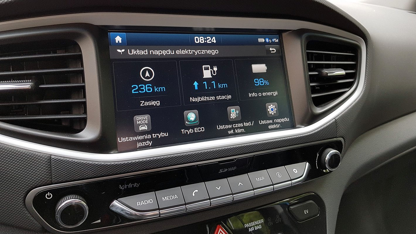 Hyundai IONIQ Electric główne menu elektrycznego układu napędowego