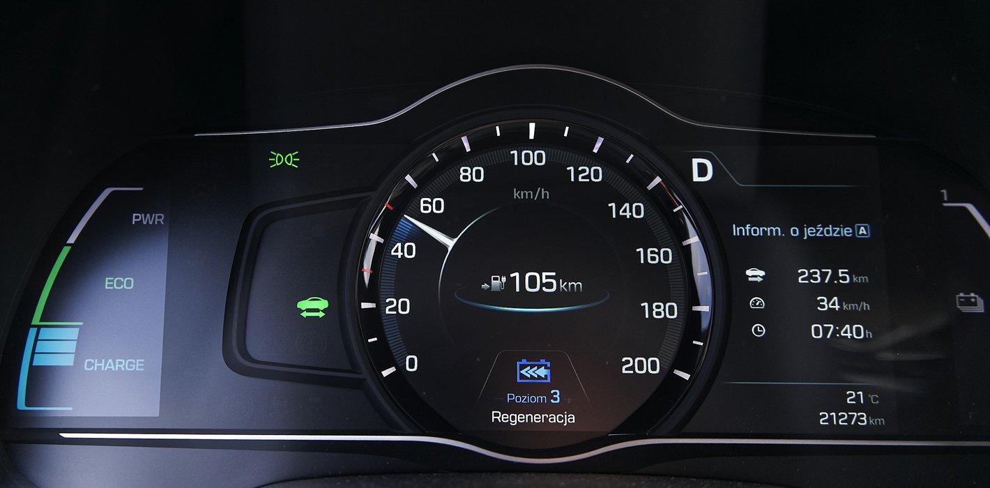 Hyundai IONIQ Electric prędkościomierz i miernik energii