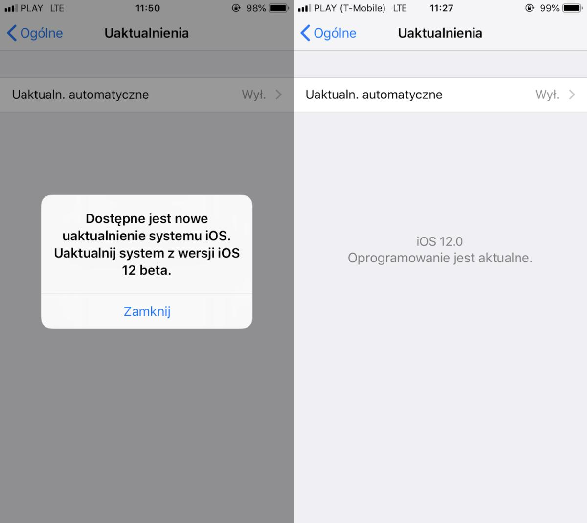 iOS 12 beta uaktualnienie systemu