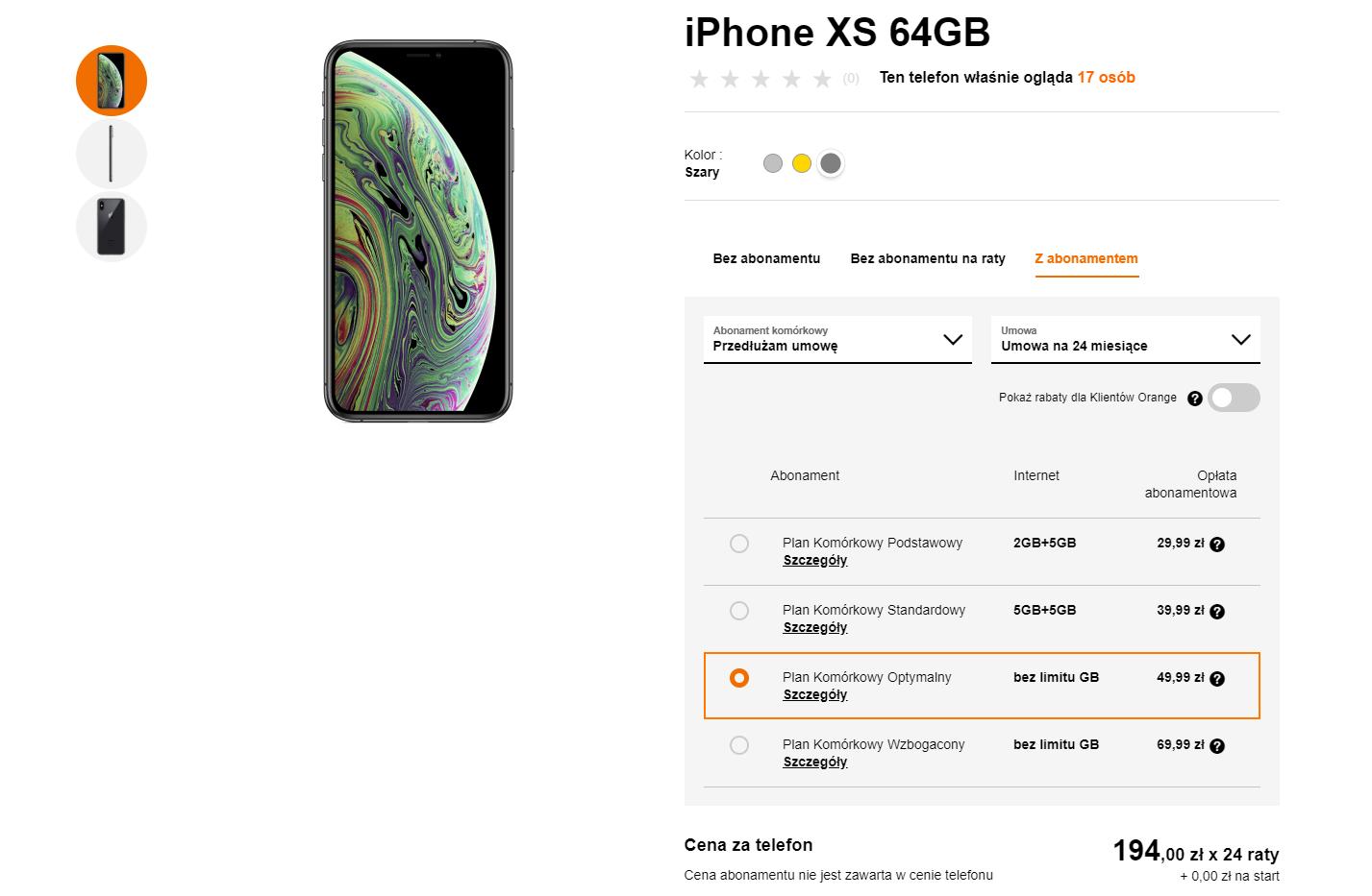Orange przedłużenie umowy iPhone XS