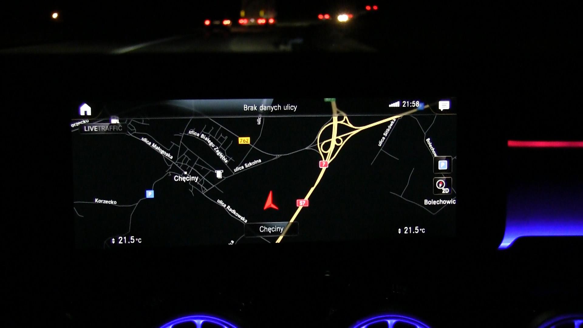Mercedes-Benz Klasy A 200 - nawigacja na trasie S7