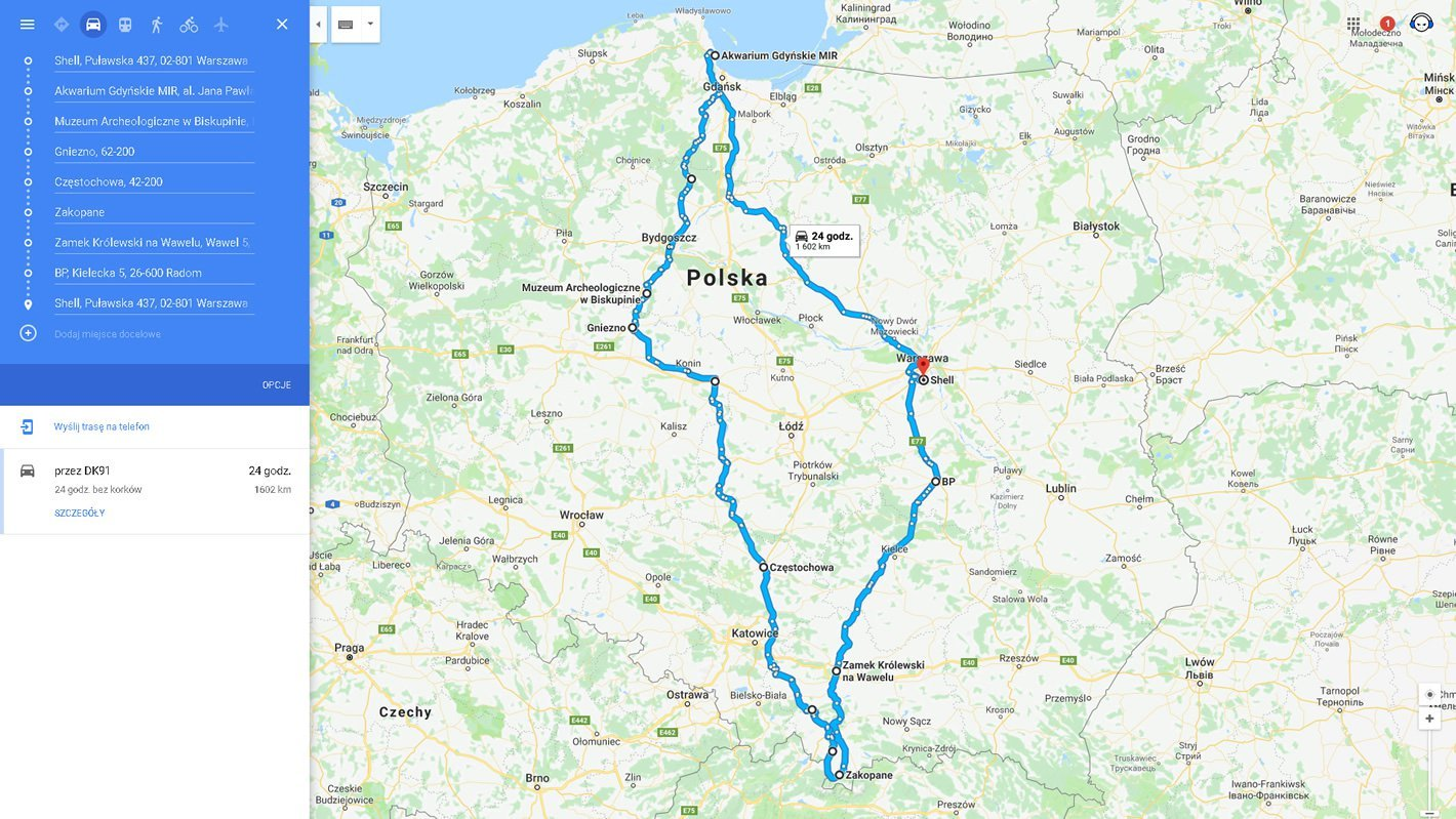 Trasa testu 1600 km