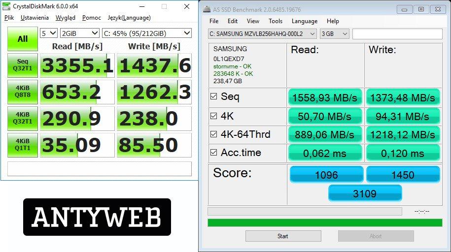 Lenovo Legion Y530 wydajność dysku SSD