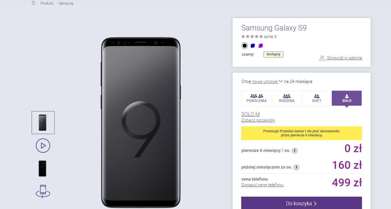 Cena Samsung Galaxy S9 w abonamencie Play