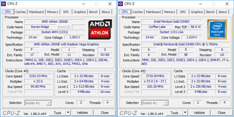 AMD Athlon 200GE CPUZ