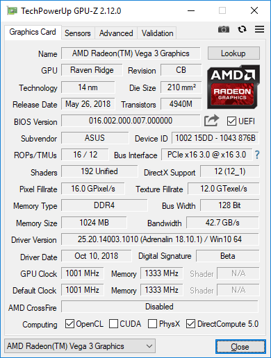 AMD Athlon 200GE GPUZ