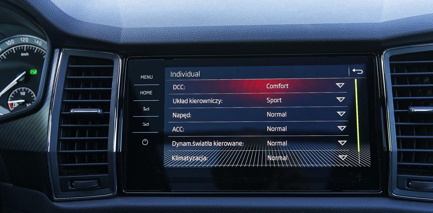Skoda Kodiaq Sportline - dostosowanie parametrów samochodu