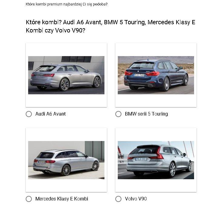 Audi A6 Avant, BMW 5 Touring, Mercedes Klasy E Kombi, Volvo V90 - ankieta