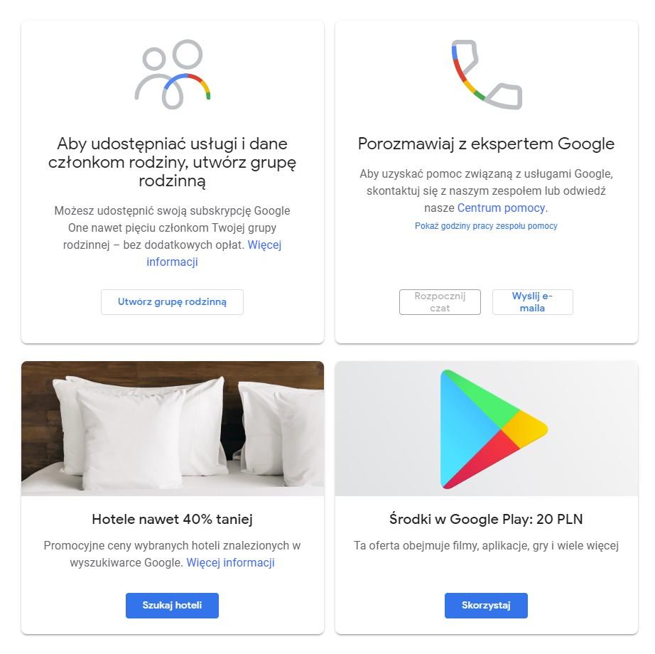 Google One - oferty - 20 PLN do sklepu Google Play