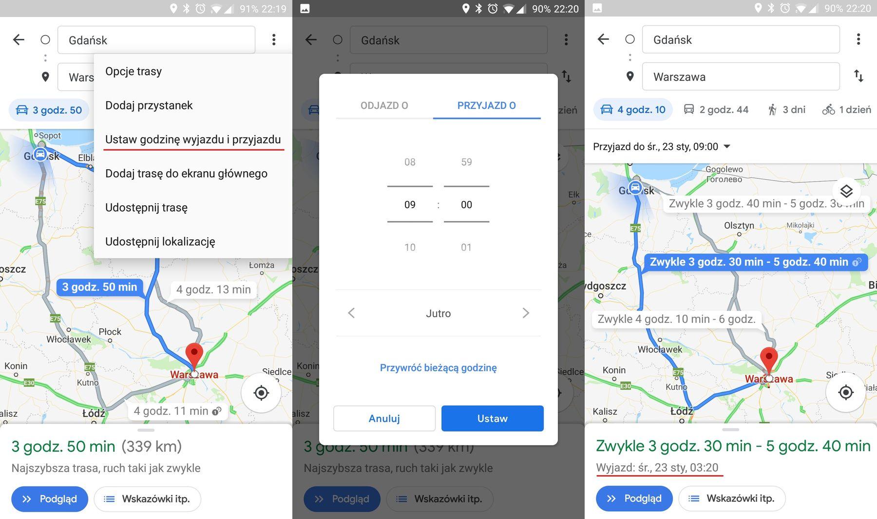 Mapy Google planowanie podróży