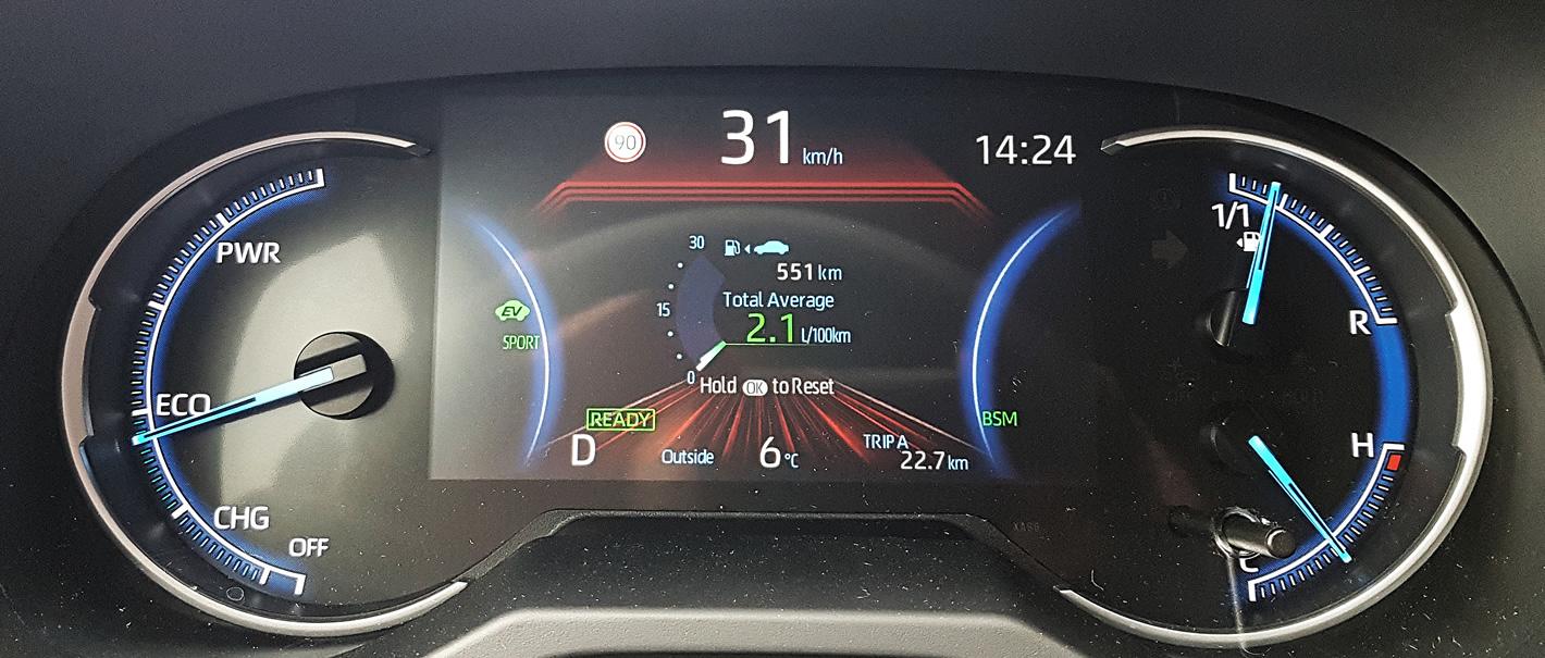Toyota RAV4 Hybrid 2019 - cyfrowy zestaw wskaźników
