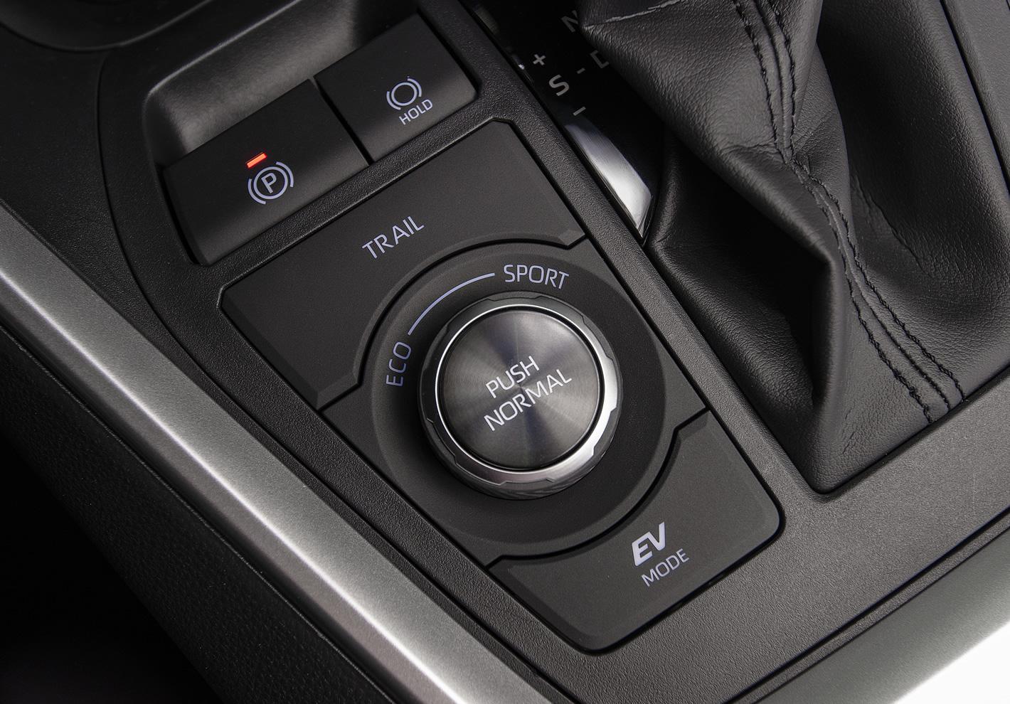 Toyota RAV4 Hybrid 2019 - przełącznik trybów jazdy wersji AWD-i