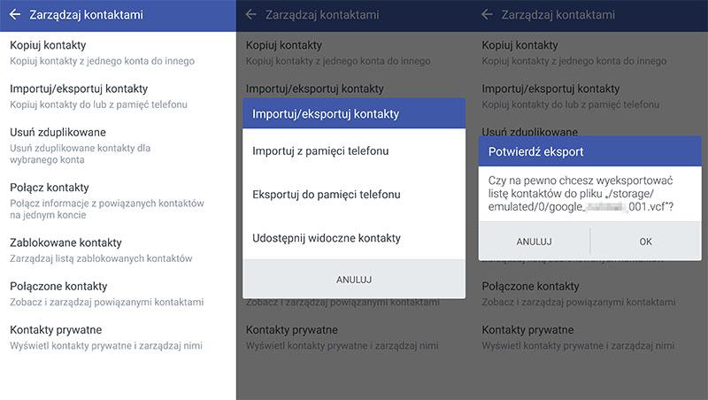 zarządzanie kontaktami - android