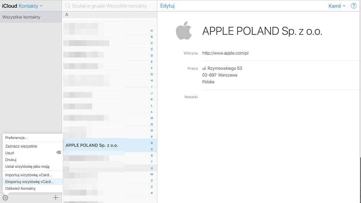 kontakty apple icloud
