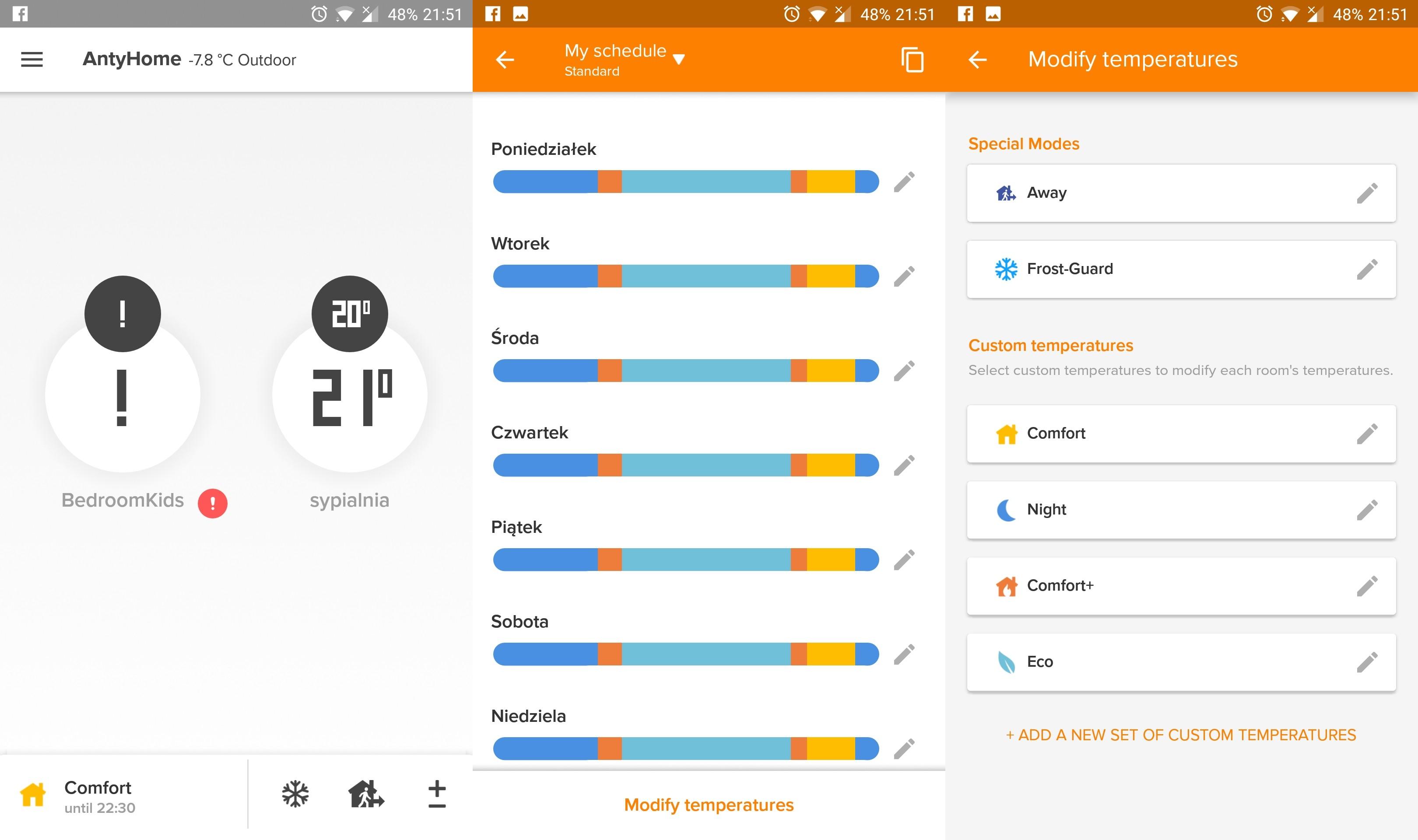 Termostat inteligentny Netatmo Valves Set aplikacja Energy konfiguracja temperatur
