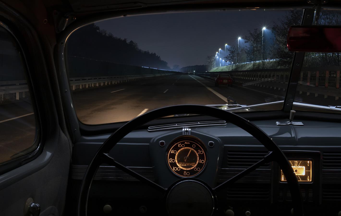 Oświetlenie samochodu w 1950 roku