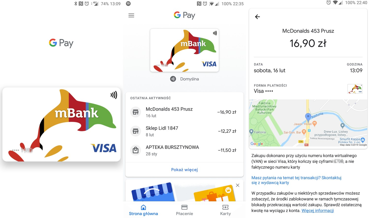 Lista transakcji Google Pay