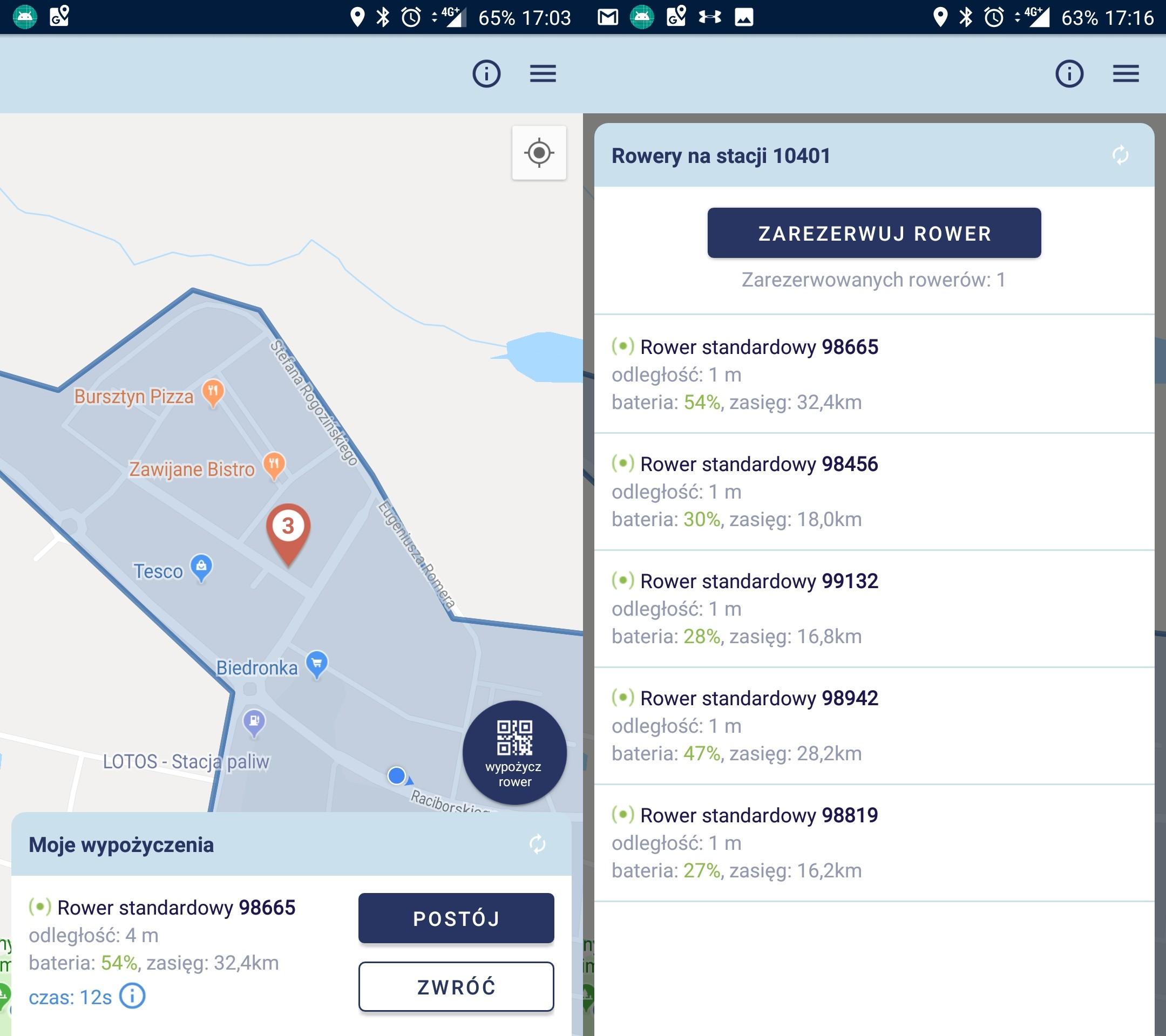 Aplikacja MEVO rezerwacja roweru