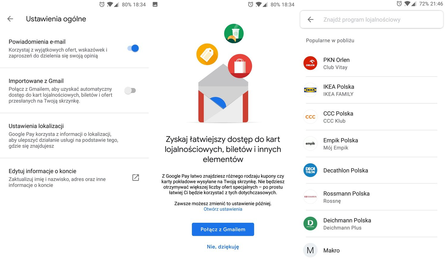 Google Pay oferty z Gmail