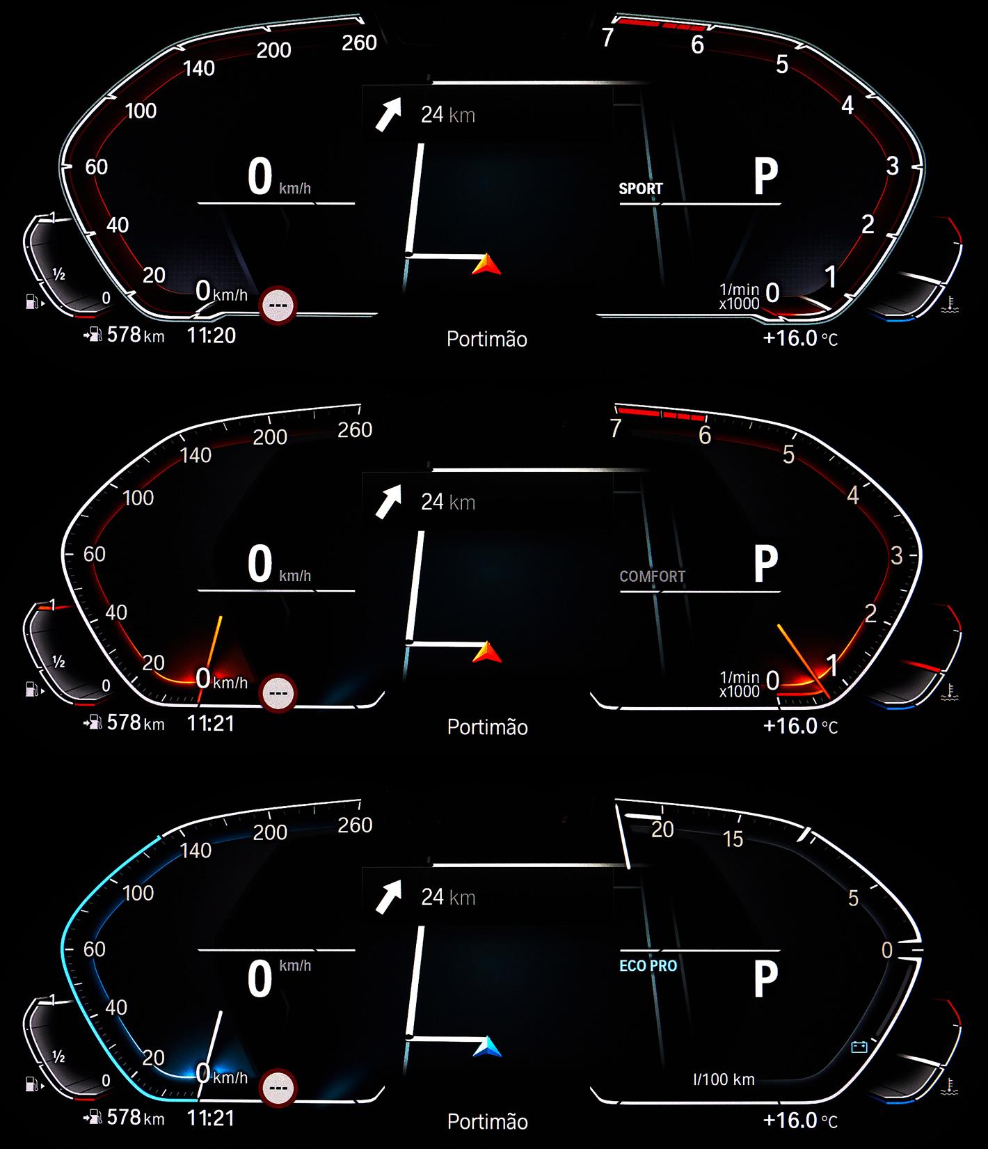 BMW System Operacyjny 7.0 Live Cockpit - tryb ekonomiczny, sportowy i komfortowy