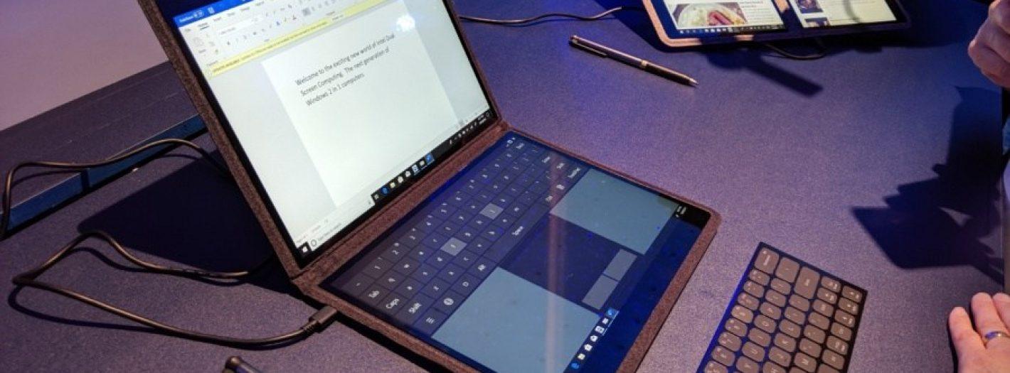 laptop z dwoma ekranami