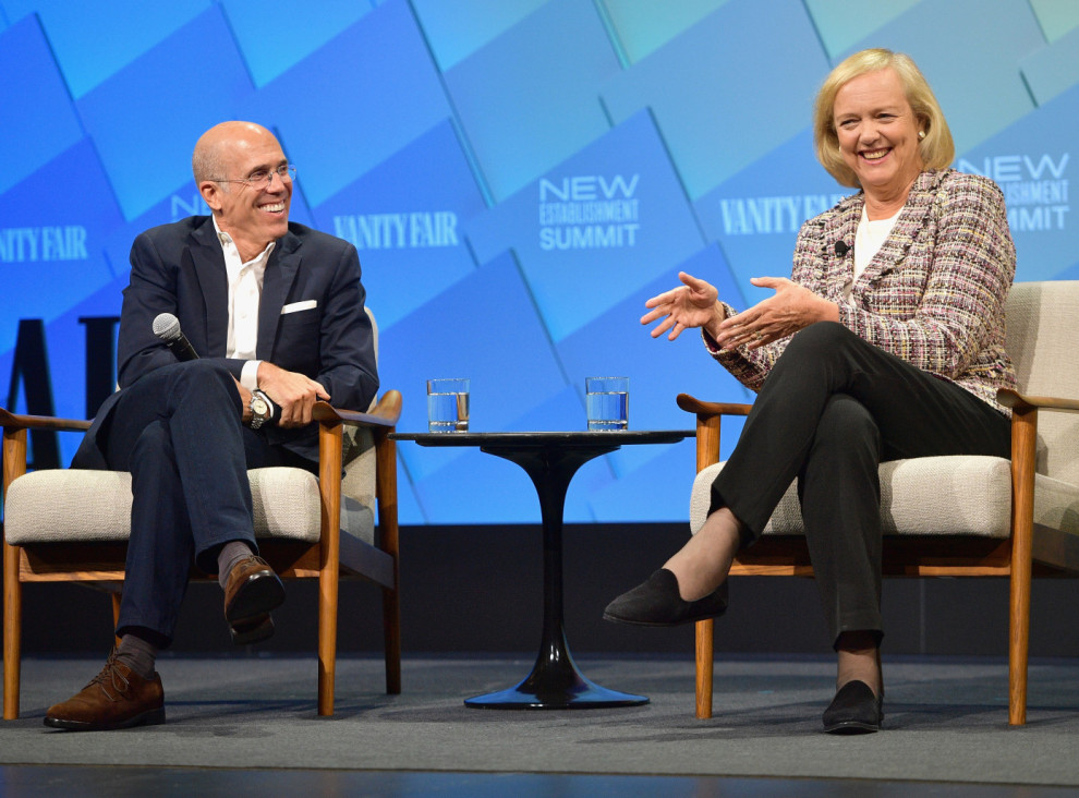 BEVERLY HILLS, CA - OCTOBER 10: (L-R) Founder and Chairman of the Board at NewTV, Jeffrey Katzenberg and C.E.O. at NewTV, Meg Whitman speak onstage at Day 2 of the Vanity Fair New Establishment Summit 2018 at The Wallis Annenberg Center for the Performing Arts on October 10, 2018 in Beverly Hills, California. (Photo by Matt Winkelmeyer/Getty Images)