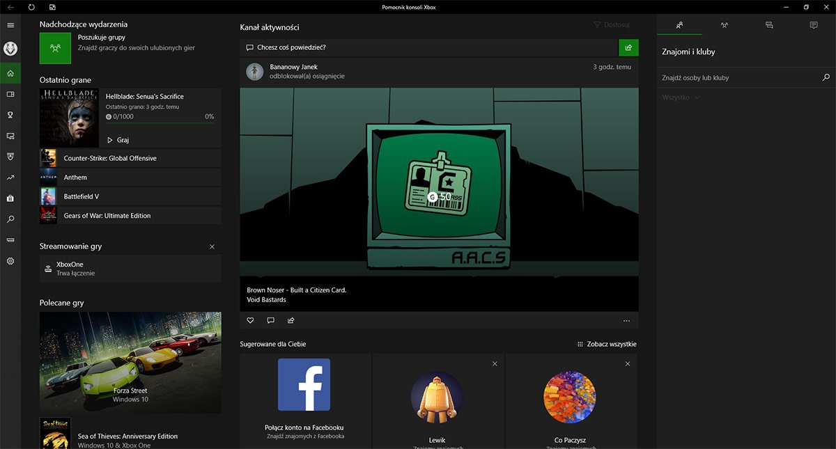Obecna wersja Xbox App